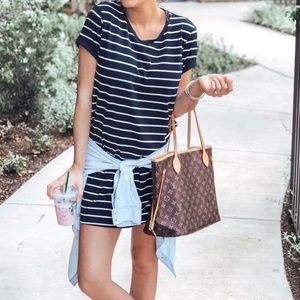 Dresses & Skirts - Navy Blue and White Striped T-Shirt Dress